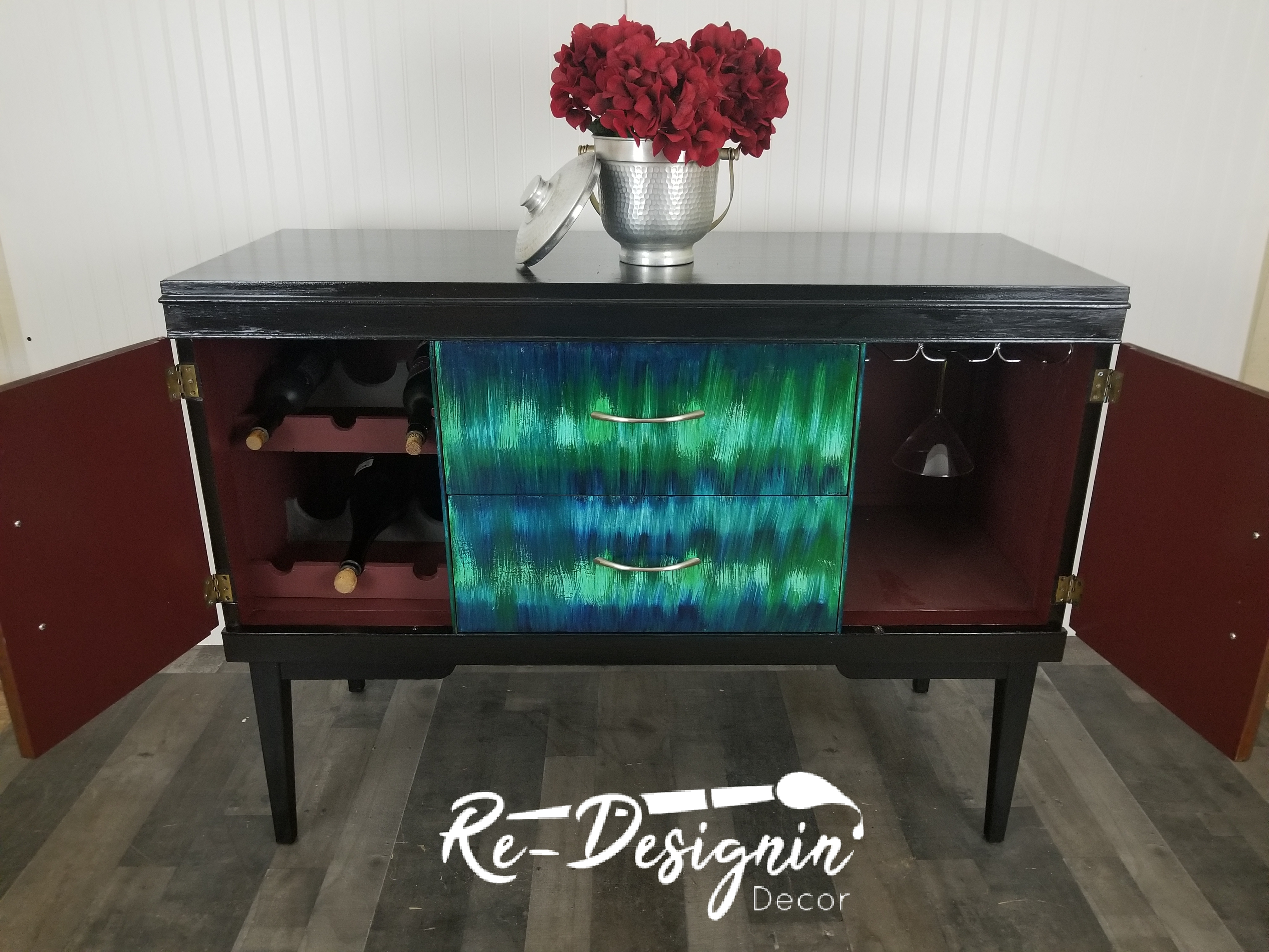Image of: Mid Century Modern Buffet Credenza Blue Green Abstract Design Furniture Refinishing Your Way
